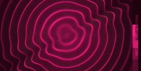 Sfondo ondulato 3D con effetto a catena. Illustrazione vettoriale con particelle. Superficie della griglia 3D.