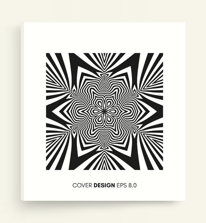 Cover design template. Black and white design. Abstract striped background. Vector illustration. 向量圖像
