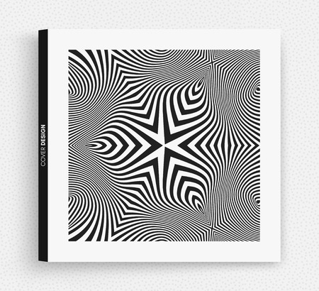 Cover design template. Black and white design. Abstract striped background. Vector illustration. Vettoriali