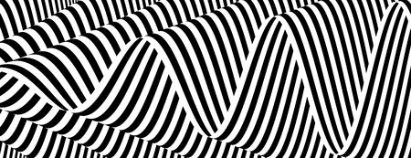 3D wavy background. Dynamic effect. Black and white design. Pattern with optical illusion. Vector illustration. Illustration
