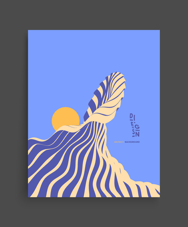 Abstract wavy background. Futuristic illustration of ocean waves and sun. Cover design template. Vector pattern. Illustration