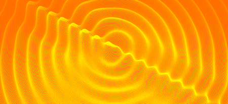 3D wavy background with ripple effect. Vector illustration with particle. 3D grid surface.  Illusztráció