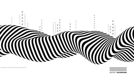 Czarno-biały wzór. Wzór ze złudzeniem optycznym. Streszczenie tło geometryczne 3d. Ilustracja wektorowa.