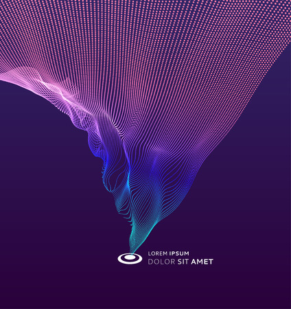 Array with dynamic particles. 3d futuristic technology style. Abstract background. Vector illustration.  イラスト・ベクター素材