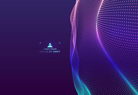 추상 과학 또는 기술 배경. 그래픽 디자인. 입자와 네트워크 그림입니다. 3D 그리드 표면.