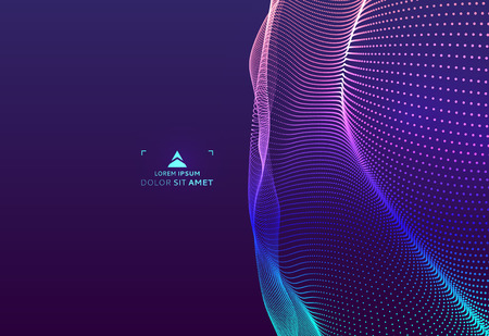 Abstract science or technology background. Graphic design. Network illustration with particle. 3D grid surface.  Иллюстрация