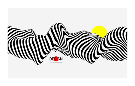 Black and white design. Pattern with optical illusion. Abstract 3D geometrical background. Vector illustration. Archivio Fotografico - 126340659
