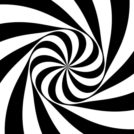 Pattern with optical illusion. Black and white design. Abstract striped background. Vector illustration. Archivio Fotografico - 114915581