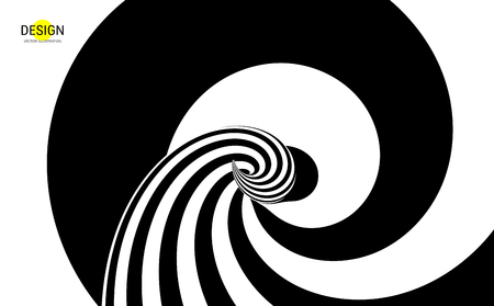 Pattern with optical illusion. Black and white design. Abstract striped background. Vector illustration. 向量圖像