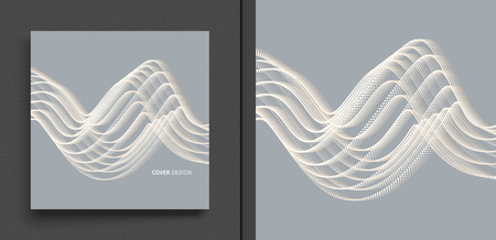 Wavy background. Array with dynamic particles. Composition with motion effect. 3d technology style. Vector illustration. Ilustração