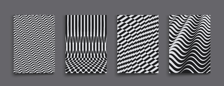 Cover design template. Black and white design. Pattern with optical illusion. Abstract 3D geometrical background. Vector illustration.