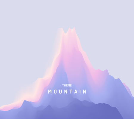Vector background landscape with blue sky and silhouette of mountain. Mountainous terrain for banner, flyer, book cover, poster.