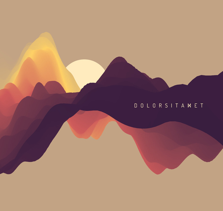 Landscape with mountains and sun. Sunset. Mountainous terrain. Abstract background. Vector illustration. 일러스트