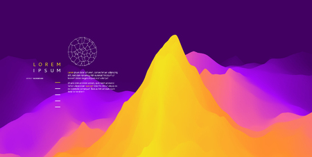 Landscape with mountains and sun. Sunrise. Mountainous terrain. Abstract background. Vector illustration.