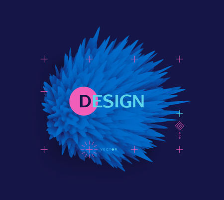 Crystal, mineral or stone. Prickly sphere for design project. Floral art. Background with exploding rays. Abstract vector illustration with dynamic effect. Can be used for advertising and marketing.