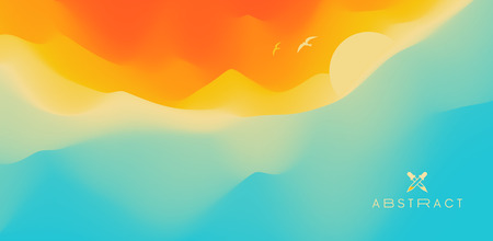 Seascape with sun. Sunset. Can be used as a greeting card. Vector illustration.