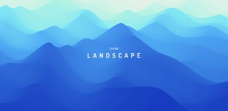 Landscape with mountains and fog. Mountainous terrain. Abstract background. Vector illustration.  Illustration