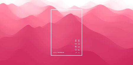 Landscape with mountains. Sunset. Mountainous terrain. Abstract background. Vector illustration.