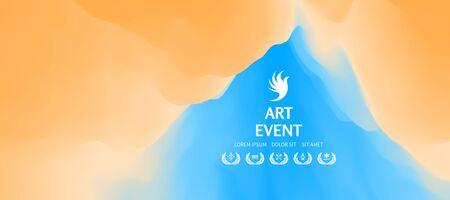 Art event invitation template. Creative design poster with vibrant gradients. Vector Illustration for advertising, marketing, presentation. Mobile screen. Ilustração