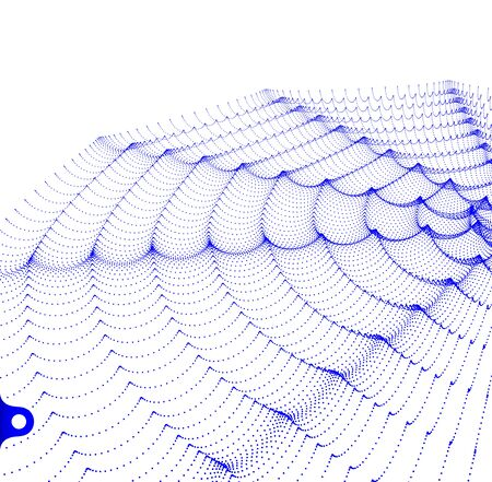 3D wavy background with ripple effect. Grid surface for design. Vector illustration.