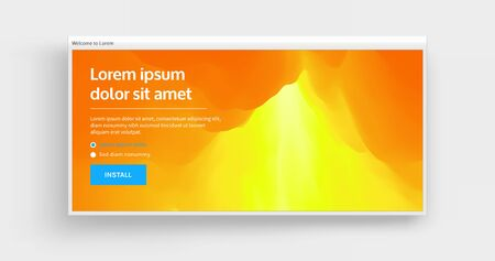 Website or mobile app landing page. Volcano eruption. Landscape with mountains. Abstract background. Vector illustration.