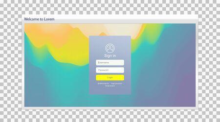 Login user interface. Modern screen design for mobile app and web design. Gradient background. Website element. Vector illustration.