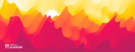 Landscape with mountains and sun. Sunset. Mountainous terrain. Abstract background. Vector illustration.  Ilustração