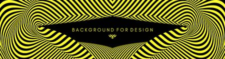 Black and yellow abstract striped background. Optical art. 3d vector illustration for brochure, annual report, magazine, poster, presentation, flyer and banner.  Ilustração