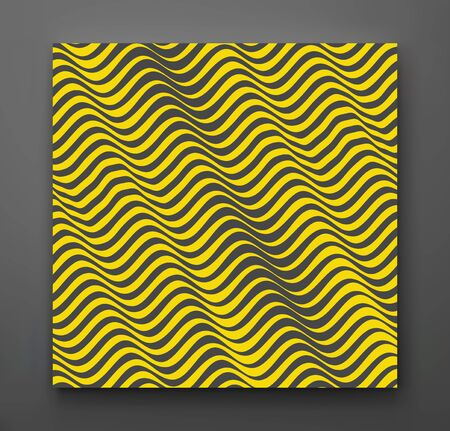 Black and yellow design. Pattern with optical illusion. Abstract 3D geometrical background. Vector illustration.