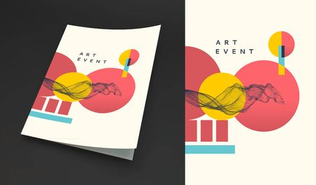 Art event invitation template in Japanese style. Abstract background with dynamic effect. Cover design template. Perspective view. 3d vector illustration for promotions or presentations.