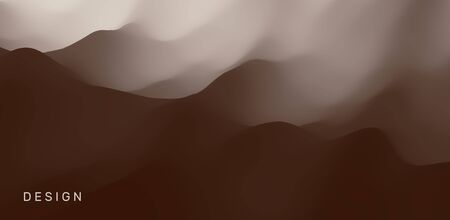 Landscape with mountains and fog. Mountainous terrain. Abstract background. Vector illustration.  Иллюстрация