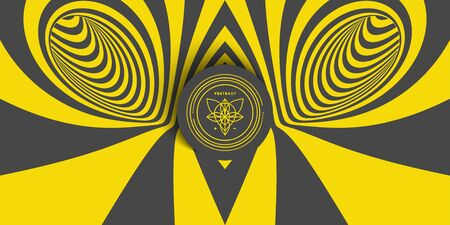 Black and yellow abstract striped background. Pattern with optical illusion. 3d surreal vector illustration.