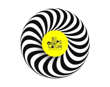 Black and white striped torus. Abstract design element. Optical art. Vector illustration.