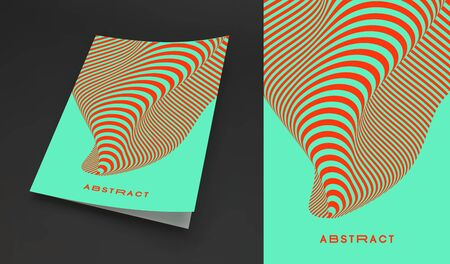 Cover design template. Pattern with optical illusion. Applicable for placards, banners, book covers, brochures, planners or notebooks. 3d vector illustration.