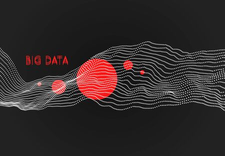 Wave with connected dots. 3D grid surface in technology style. Abstract background. Vector illustration with particle.
