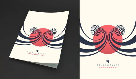 Cover design template. Black and white pattern with optical illusion. Applicable for placards, banners, book covers, brochures, planners or notebooks. 3d vector illustration.