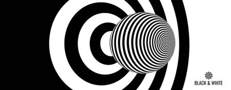 Target hit in the center. Black and white design with optical illusion. Abstract striped background. Vector illustration.