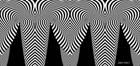 Black and white abstract striped background. Optical art. 3d vector illustration for brochure, annual report, magazine, poster, presentation, flyer and banner. Illustration