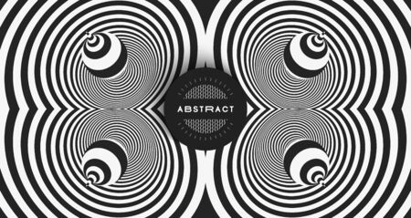 Black and white abstract striped background. Pattern with optical illusion. 3d surreal vector illustration. Illustration