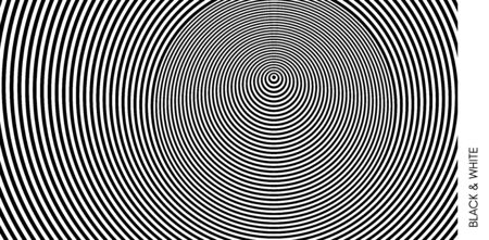 Concentric circles pattern. Black and white design with optical illusion. Abstract striped background. Vector illustration.