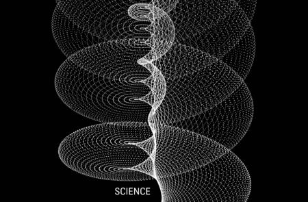 Spiral. Array with dynamic particles. Abstract grid design. 3d vector illustration for science or technology.