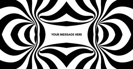 Black and white abstract striped background. Pattern with optical illusion. 3d surreal vector illustration. 向量圖像