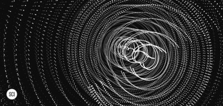 Array with dynamic particles. Swirl with connected dots. Abstract science or technology background. 3d vector illustration.