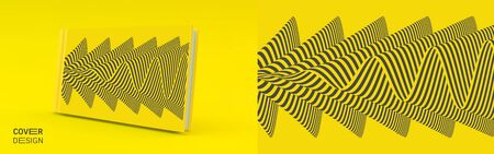 Cover design template. Black and yellow pattern with optical illusion. Applicable for placards, banners, book covers, brochures, planners or notebooks. 3d vector illustration. Ilustração
