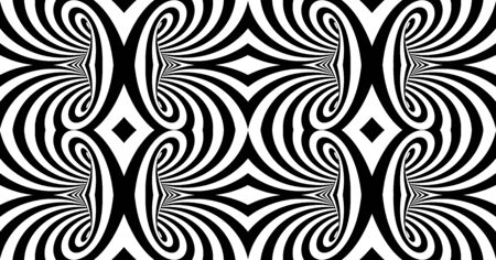 Black and white abstract striped background. Pattern with optical illusion. 3d surreal vector illustration. Ilustrace