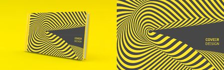 Cover design template. Black and yellow pattern with optical illusion. Applicable for placards, banners, book covers, brochures, planners or notebooks. 3d vector illustration. Çizim