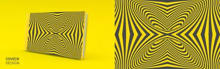 Cover design template. Black and yellow pattern with optical illusion. Applicable for placards, banners, book covers, brochures, planners or notebooks. 3d vector illustration. Illusztráció