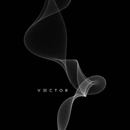 Stream of smoke consisting of small particles. Abstract grid design with dynamic particles. 3d vector illustration.