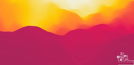 Desert dunes sunset landscape. Mountain landscape with a dawn. Mountainous terrain. Hills silhouette. Abstract background. Vector illustration. 写真素材 - 149245371
