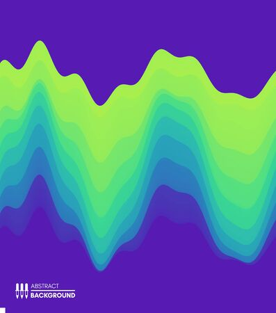 Abstract waveform background. 3d technology style. Vector illustration with sound waves. Ilustracja